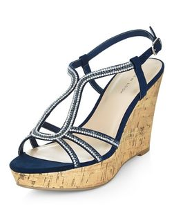Navy Suedette Diamante Embellished Wedges  | New Look