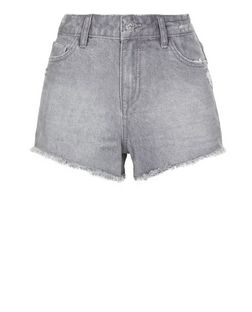 Grey Faded Fray Hem Denim Shorts  | New Look