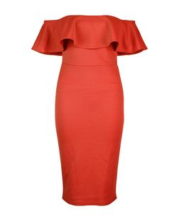 Coral Frill Bardot Neck Waffle Texture Bodycon Dress  | New Look