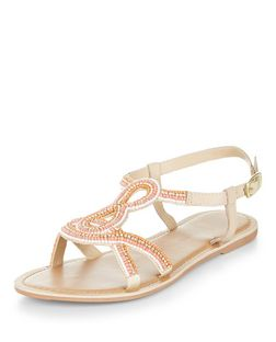 Teens Coral Leather Beaded Sandals | New Look