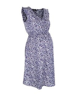 Maternity Blue Floral Print Shirred Waist Sleeveless Dress  | New Look