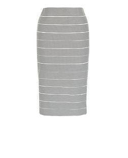 Black Stripe Bandage Pencil Skirt  | New Look