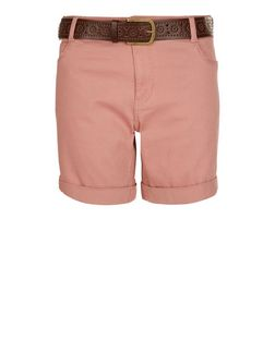 Mid Pink Belted Shorts  | New Look
