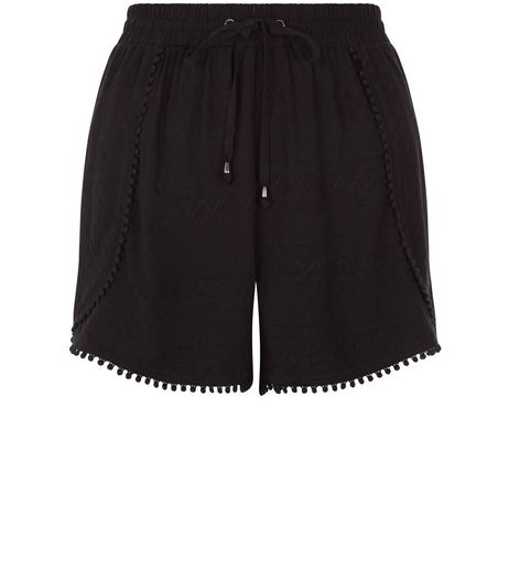 Black Embroidered Pom Pom Trim Shorts | New Look