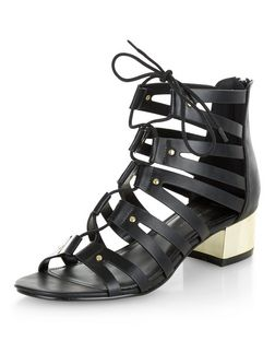 Wide Fit Black Metal Block Heel Ghillie Sandals  | New Look