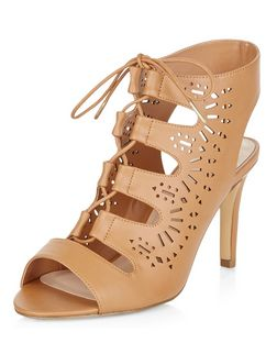 Wide Fit Camel Laser Cut Out Ghillie Heels  | New Look