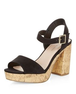 Wide Fit Black Suedette Contrast Flared Heel Sandals  | New Look