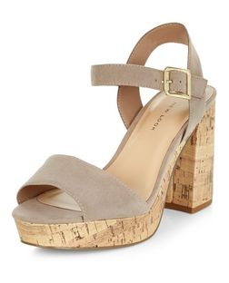 Wide Fit Light Brown Suedette Contrast Flared Heel Sandals  | New Look