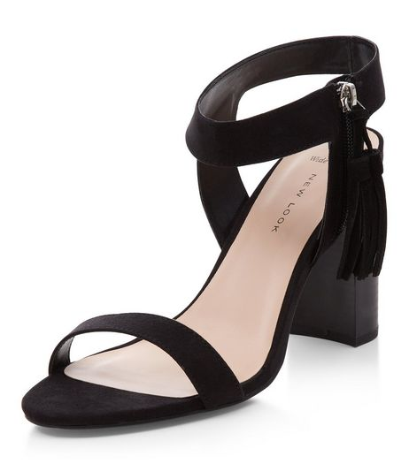 Wide Fit Black Tassel Side Ankle Strap Block Heels  | New Look