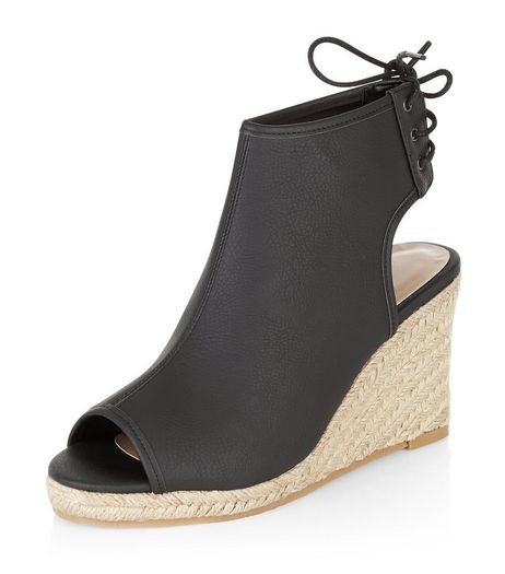 Black Faux Leather Peep Toe Espadrille Wedges  | New Look