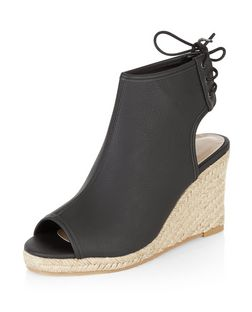 Black Faux Leather Peeptoe Espadrille Wedges  | New Look