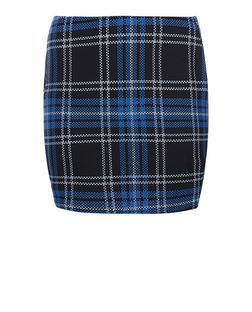 Curves Blue Check Tube Skirt  | New Look