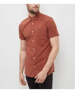 Rust Single Pocket Textured Roll Sleeve Shirt  | New Look