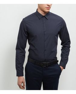 Navy Pin Dot Print Long Sleeve Shirt | New Look
