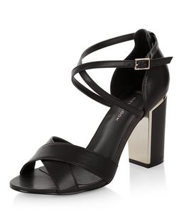 Wide Fit Black Cross Strap Block Heel Sandals  | New Look
