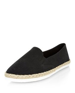 Wide Fit Black Canvas Espadrilles  | New Look