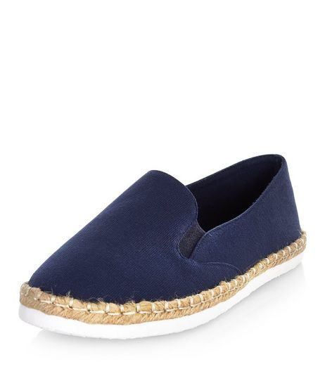 Wide Fit Navy Canvas Espadrilles  | New Look