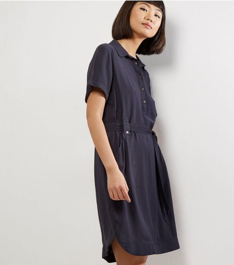 Navy Cross Hatch Short Sleeve Shirt Dress | New Look