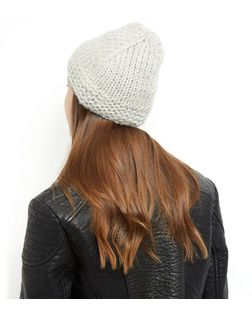 Grey Knitted Beanie | New Look