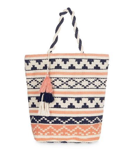 Coral Stripe Tassel Shopper Bag | New Look