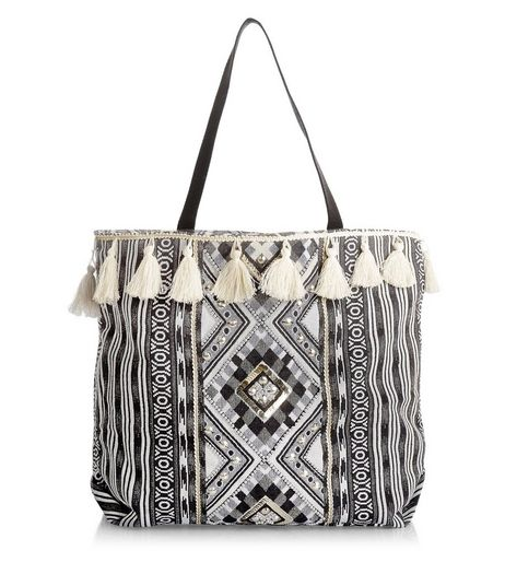Black Aztec Knit Tassel Trim Shopper Bag  | New Look