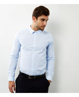 Pale Blue Pinstripe Long Sleeve Shirt  | New Look