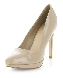 Light Brown Patent Pointed Court Shoes  | New Look