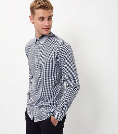 Navy Gingham Check Long Sleeve Shirt  | New Look