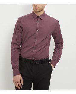 Dark Red Long Sleeve Cross Dye Shirt | New Look