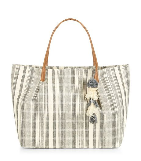 Blue Stripe Fray Trim Shopper Bag  | New Look