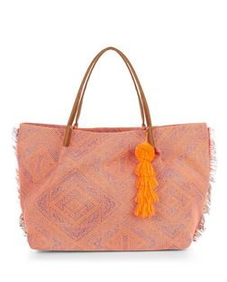 Coral Abstract Print Fringed Shopper Bag | New Look