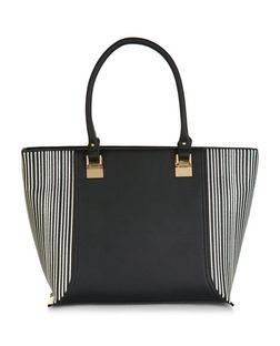 Black Stripe Panel Tote Bag  | New Look