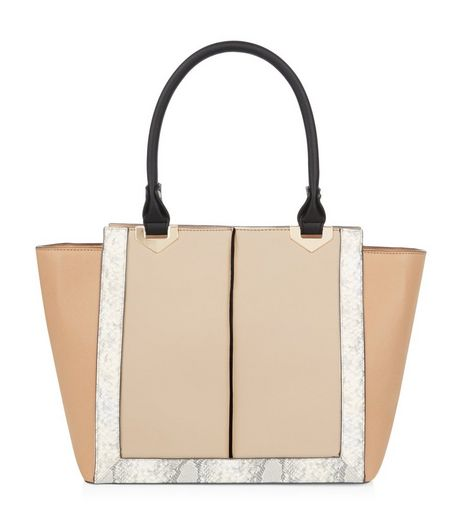Camel Snakeskin Print Trim Tote Bag  | New Look