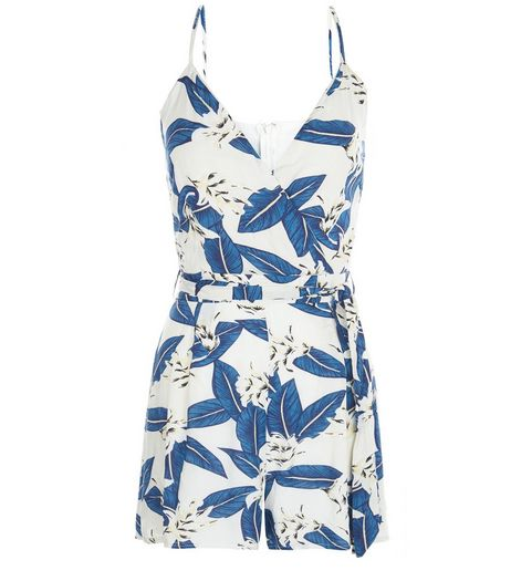 Parisian Blue Leaf Print Strappy Playsuit  | New Look