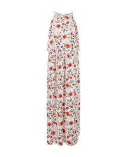 Parisian White Floral Print Layered Maxi Dress | New Look