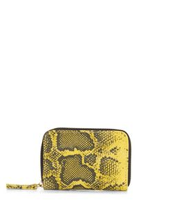 Yellow Snakeskin Print Mini Card Holder  | New Look