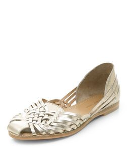Gold Leather Woven Sandals | New Look