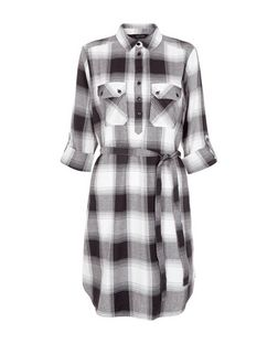 Black Check Double Pocket Roll Sleeve Shirt Dress  | New Look