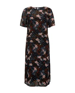Black Chiffon Floral Print Midi Dress  | New Look