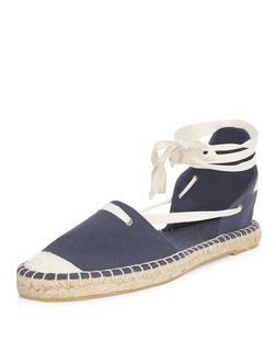 Navy Canvas Ghillie Espadrilles | New Look