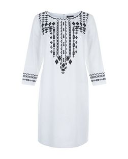 White Embroidered Panel Tunic Dress  | New Look