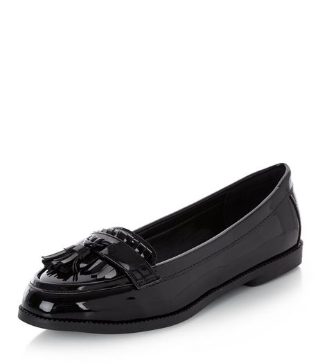 Black Patent Fringe Loafers  | New Look
