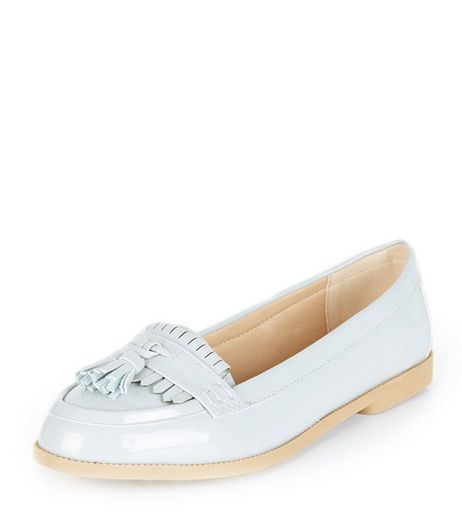 Pale Blue Patent Fringe Loafers  | New Look