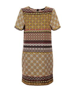 Brown Contrast Tile Print Tunic Dress  | New Look