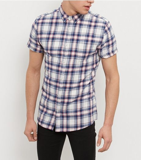 Cream Check Roll Sleeve Shirt  | New Look