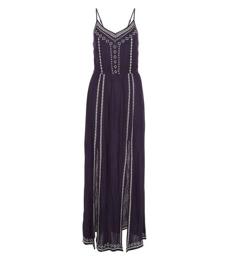 Blue Embroidered Trim Split Front Maxi Dress  | New Look