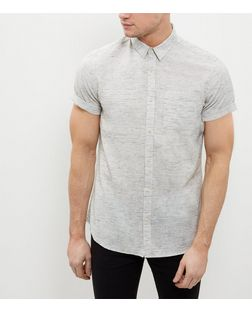 Cream Marl Space Dye Short Sleeve Shirt  | New Look