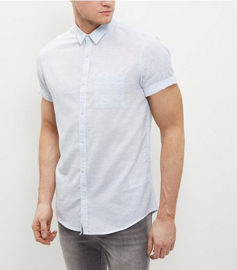 Light Blue Marl Short Sleeve Shirt | New Look