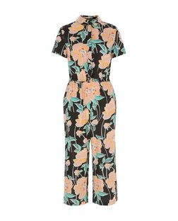 Black Floral Print Culotte Jumpsuit | New Look