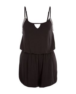 Black Aztec Tape Trim Keyhole Front Playsuit  | New Look